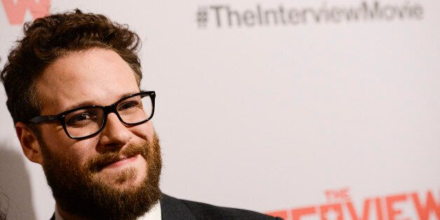 "Actor Seth Rogen attends the premiere of the feature film ""The Interview"" in Los Angeles on Thursday, Dec. 11, 2014. (Photo b"