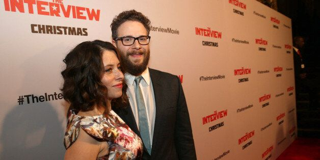 """Lauren Miller and Director/Producer/Screenwriter Seth Rogen seen at Columbia Pictures World Premiere of """"The Interview"""" on Th"""