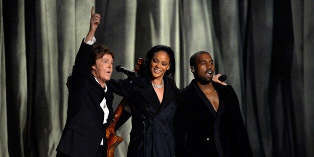 LOS ANGELES, CA - FEBRUARY 08:  (L-R) Recording artistis Paul McCartney, Rihanna and Kanye West perform 'FourFiveSeconds' ons