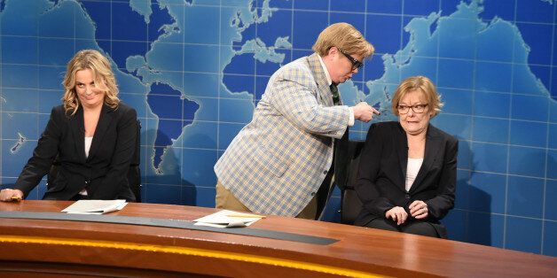 SATURDAY NIGHT LIVE 40TH ANNIVERSARY SPECIAL -- Pictured: (l-r) Amy Poehler, Melissa McCarthy as Matt Foley, Jane Curtin duri
