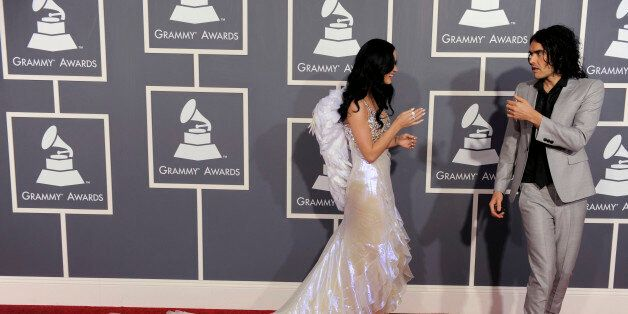 Katy Perry, left, and Russell Brand arrive at the 53rd annual Grammy Awards on Sunday, Feb. 13, 2011, in Los Angeles. (AP Pho