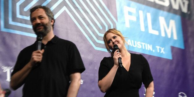 AUSTIN, TX - MARCH 15:  Director Judd Apatow (L) and actress Amy Schumer speaks at the screening of 'Trainwreck' during the 2