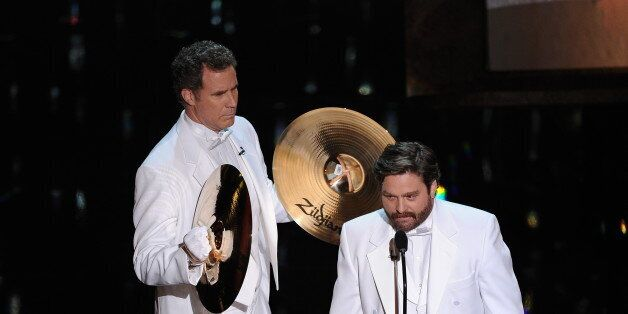 Actors Will Ferrell and Zach Galifianakis present the Oscar for Song onstage at the 84th Annual Academy Awards on February 26