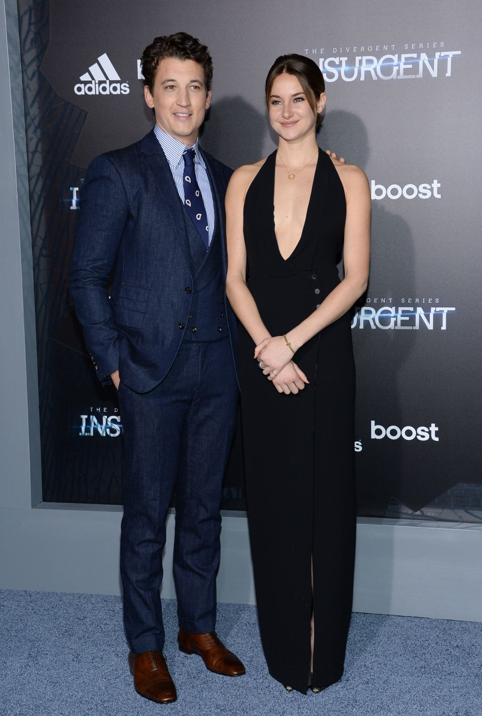"Actors Miles Teller and Shailene Woodley attend the premiere of ""The Divergent Series: Insurgent"" at the Ziegfeld Theatre on"