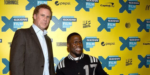 AUSTIN, TX - MARCH 16:  Actors Will Ferrell (L) and Kevin Hart arrive at the premiere of 'Get Hard' during the 2015 SXSW Musi