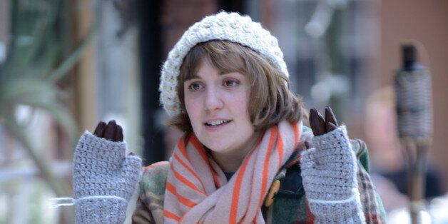 NEW YORK, NY - AUGUST 15:  Lena Dunham films the first ever winter scene on 'Girls'  on August 15, 2014 in New York City.  (P