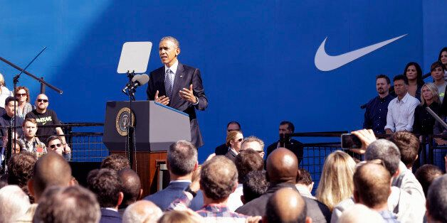 President Barack Obama speaks at Nike headquarters in Beaverton, Ore., Friday, May 8, 2015. The President is in Beaverton to