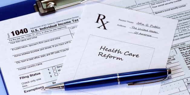 Prescription for healthcare reform and income tax form.