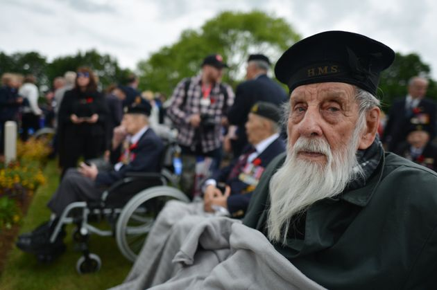 Canadian veteran Emard Court during a ceremony at the Bény-sur-Mer Canadian War Cemetery on June...