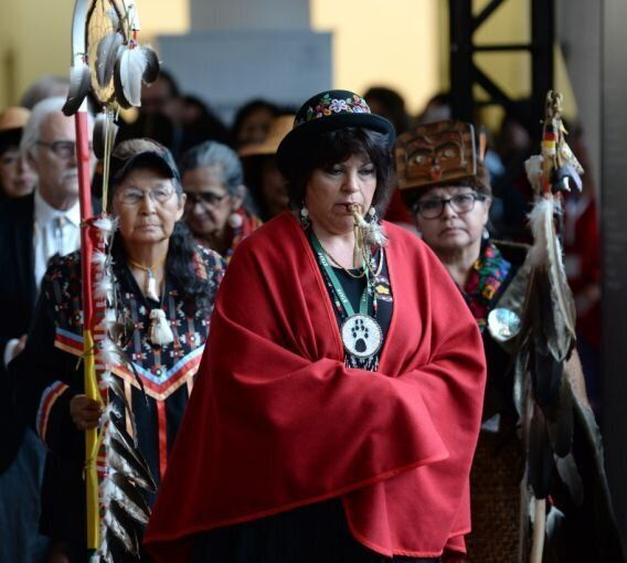 The opening procession for the National Inquiry into Missing and Murdered Indigenous Women and Girls...