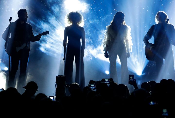"""Jimi Westbrook, from left, Kimberly Schlapman, Karen Fairchild and Phillip Sweet, of Little Big Town, performed """"The Daughter"""