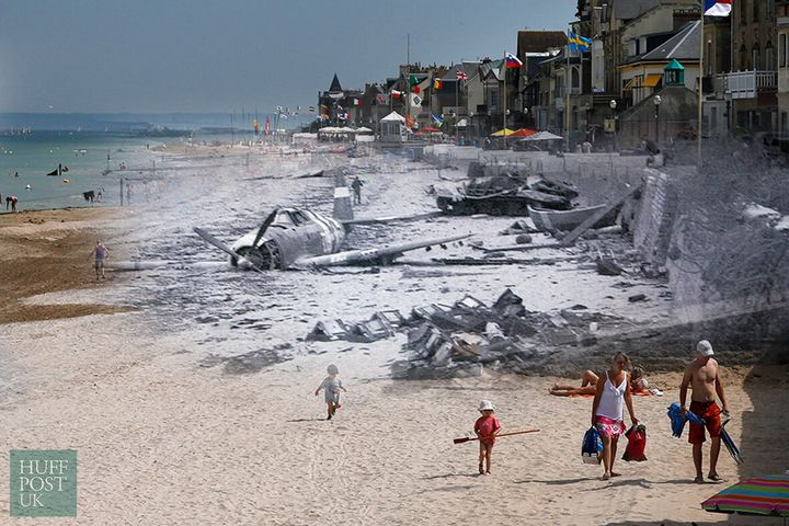 <strong>The former Juno Beach D-Day landing zone, where Canadian forces once came ashore, in Saint-Aubin-sur-Mer, France. Once a scene of death and destruction, now a tourist's paradise.</strong>
