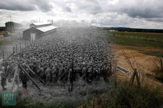 A farm field remains where German prisoners of war, captured after the D-Day landings in Normandy were...