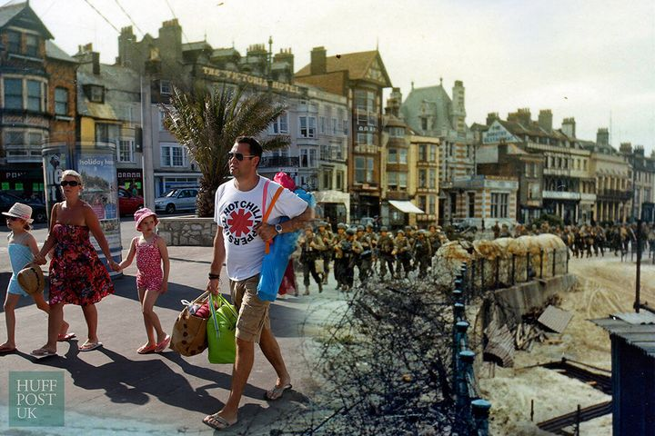 <strong>In 2014, tourists stroll by where the 2nd Battalion US Army Rangers once marched to their landing craft in Weymouth, England June 5, 1944.</strong>
