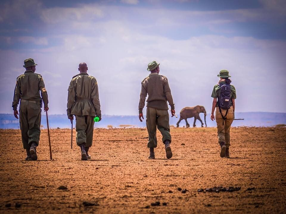"""Hawa on her mammoth """"Walk with Rangers"""" trek from Arusha in Tanzania to Kenya. The aim was to draw attention to t"""