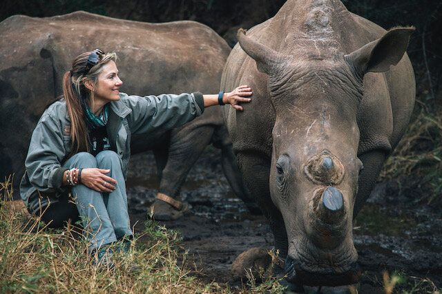 Niewoudt with her favourite rhino, Lunar, who recently