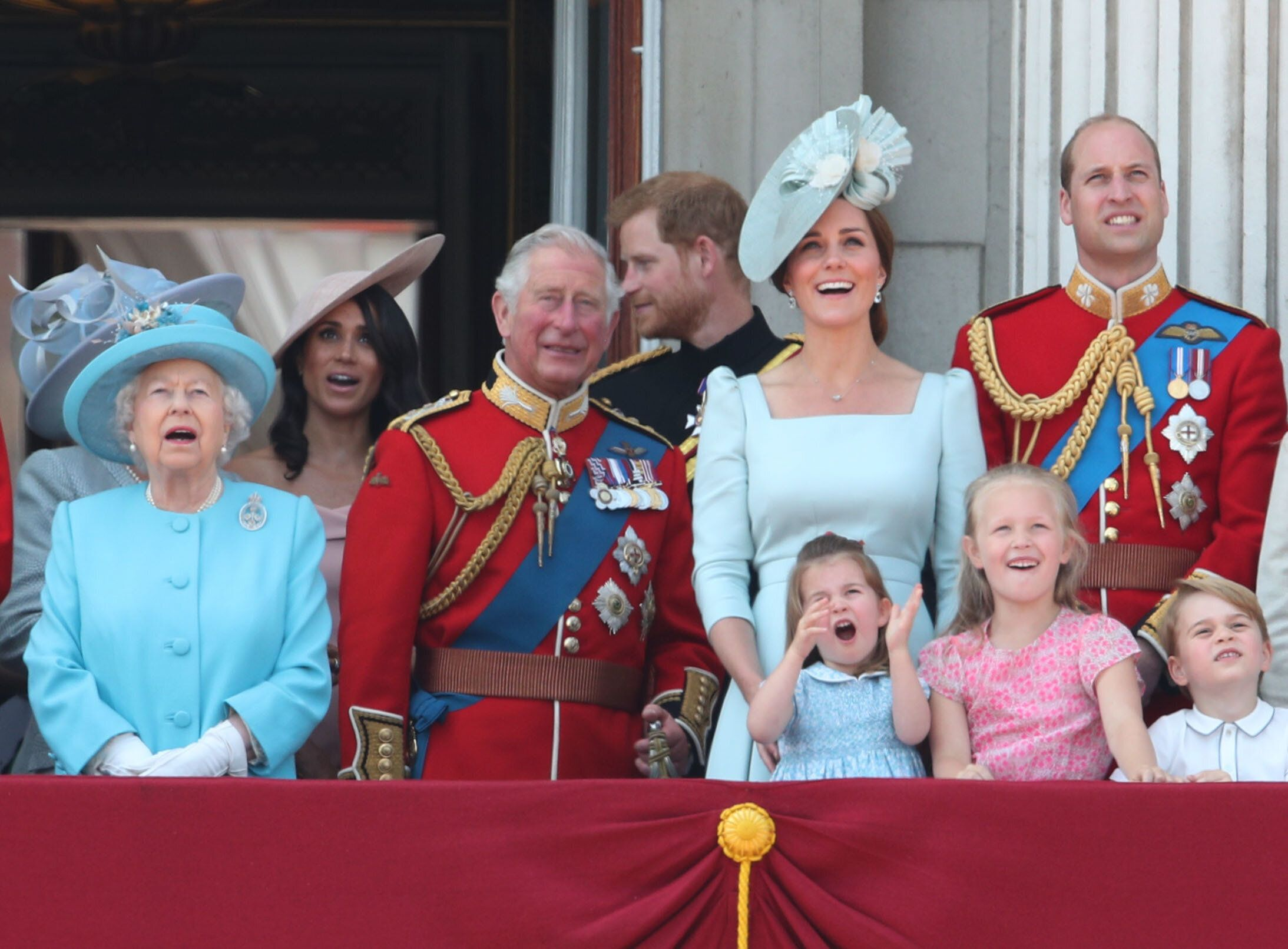 The Queen, Prince Charles, the Duke and Duchess of Sussex, the Duke and Duchess of Cambridge, Princess Charlotte, Savannah Phillips and Prince George at Trooping the Colour 2018 [Photo: PA]