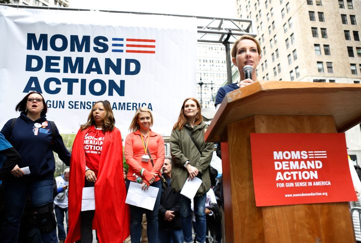 Shannon Watts speaks at the 2016 Moms Demand Action march across the Brooklyn Bridge.