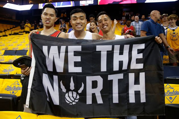 Fans of the Toronto Raptors are seen here in Oracle Arena for Game 3 of the NBA Finals on June 5,