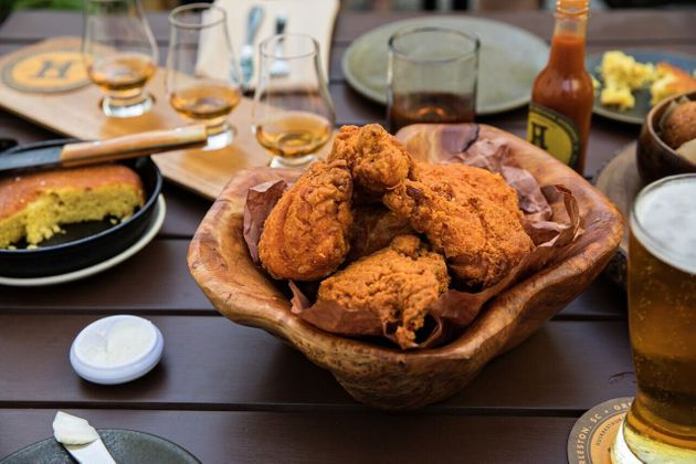 The fried chicken at Husk Greenville is made with a saltwater