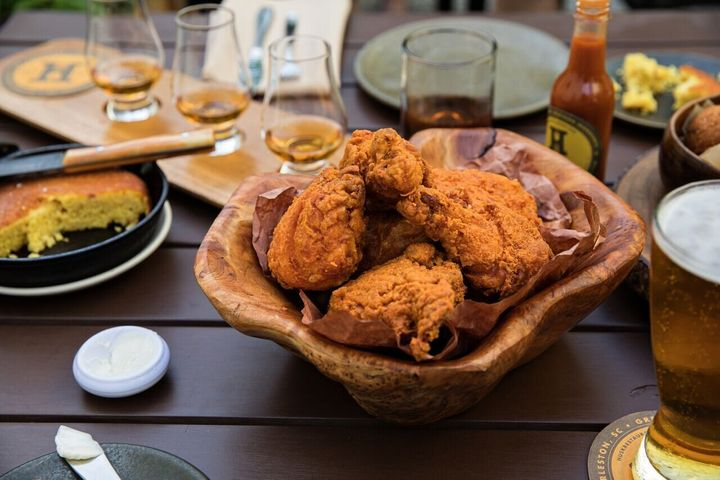 The fried chicken at Husk Greenville is made with a saltwater brine.
