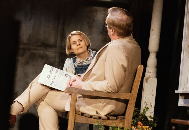 "Celia Keenan-Bolger as Scout Finch and Jeff Daniels as Atticus Finch in ""To Kill a Mockingbird"" on Broadway."
