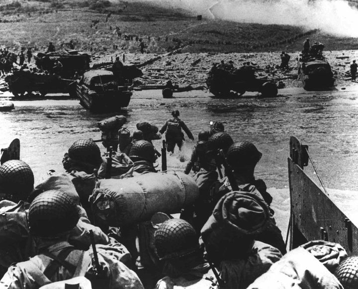 American soldiers land on the French coast in Normandy during the D-Day invasion on June 6, 1944.