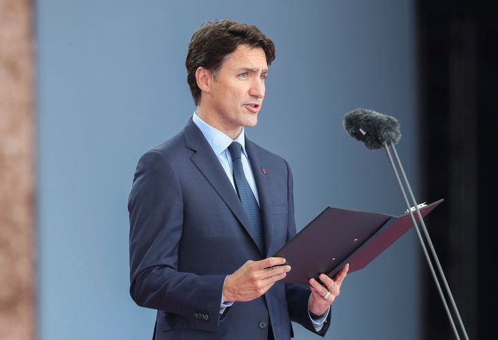 Prime Minister Justin Trudeau speaks during commemorations for the 75th Anniversary of the D-Day landings, in Portsmouth, England on June 5, 2019.