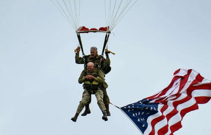 D-Day veteran Tom Rice parachutes on the 75th anniversary of the event.