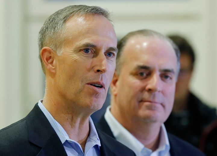 Reps. Jared Huffman (left) and Dan Kildee used to share a Capitol Hill row house with Democratic presidential candidate Beto