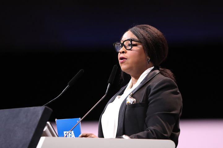 FIFA Secretary General Fatma Samoura speaks during the FIFA Women's Football Convention in Paris on Thursday, June 6, 2019.