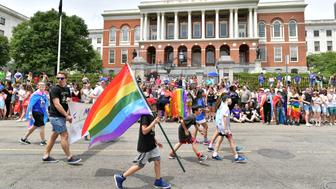 BOSTON, MA - JUNE 09:  Participants take part in the 48th annual Boston Pride Parade as it passes by the Massachusetts State House on June 9, 2018 in Boston, Massachusetts.  (Photo by Paul Marotta/Getty Images)