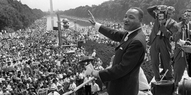 WASHINGTON, UNITED STATES:  (FILES) US civil rights leader Martin Luther King, Jr., waves to supporters from the steps of the