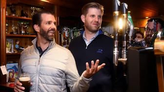 U.S. President Donald Trump's sons Eric and Donald Trump Jr. visit a local pub in Doonbeg village, Ireland June 5, 2019. REUTERS/Clodagh Kilcoyne TPX IMAGES OF THE DAY