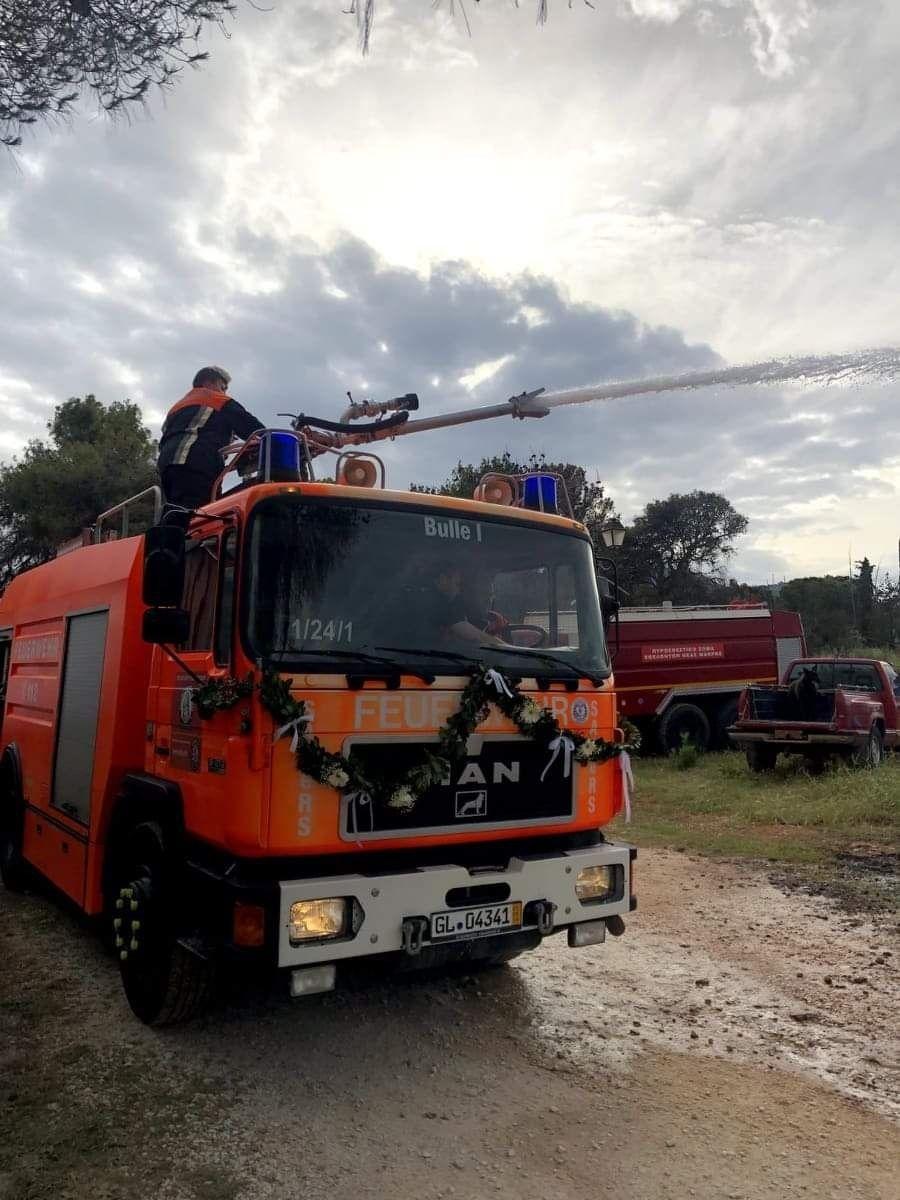 Τα μέλη των SAFeRS εκπαίδευσαν τους Έλληνες εθελοντές στη χρήση των νέων πυροσβεστικών