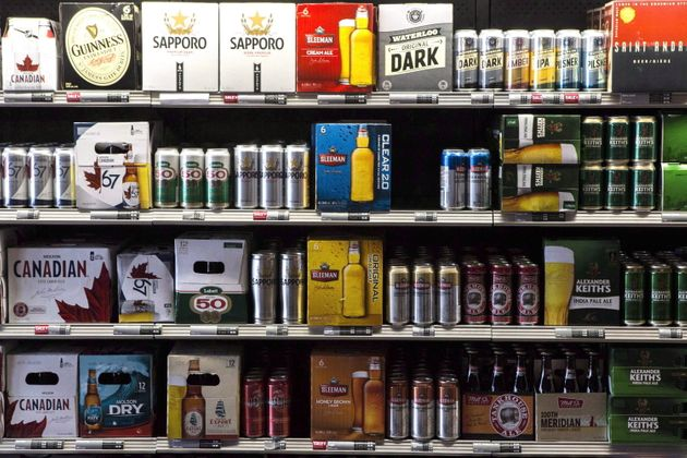 Beer products on display at a Toronto beer store on April 16,