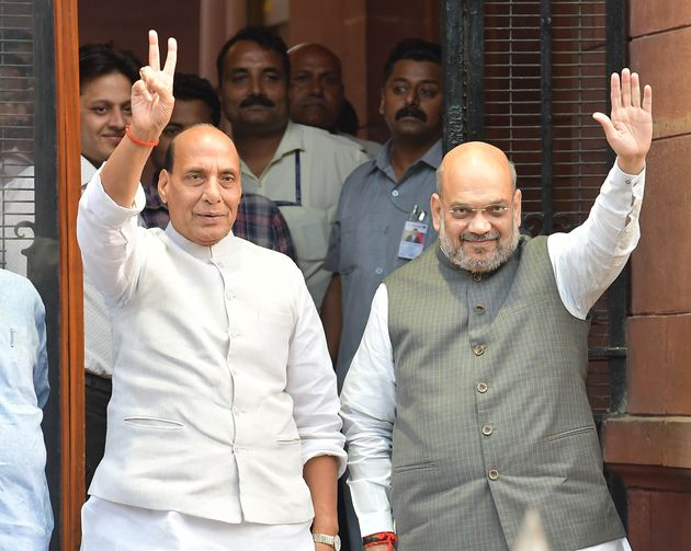 Defence Minister Rajnath Singh and Home Minister Amit Shah after the cabinet meeting, at Prime Minister's...