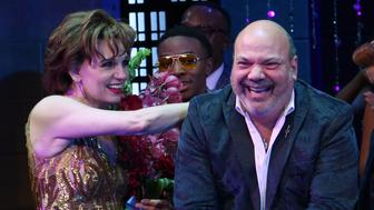 """NEW YORK, NY - NOVEMBER 15:  Beth Leavel and Casey Nicholaw during the Broadway Opening Night Curtain Call of """"The Prom"""" at The Longacre Theatre on November 15, 2018 in New York City.  (Photo by Walter McBride/Getty Images)"""
