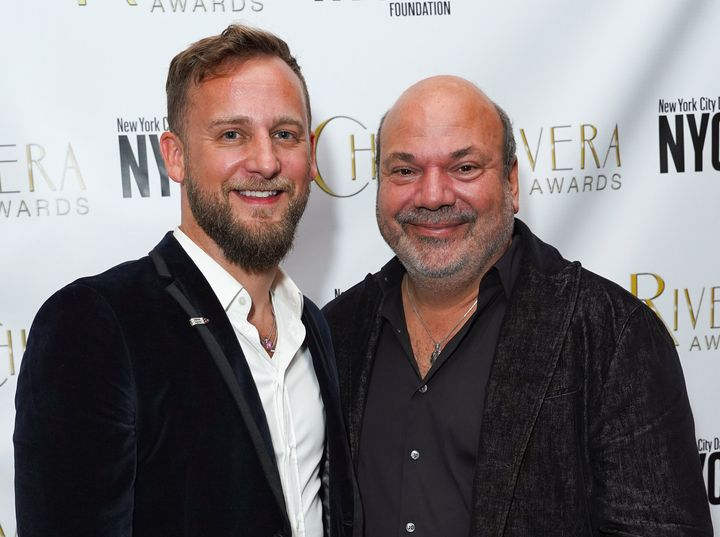 Nicholaw, right, with his husband, Josh Marquette.
