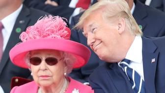 Britain's Queen Elizabeth and U.S President Donald Trump look on during commemorations for the 75th Anniversary of the D-Day landings at Southsea Common, Portsmouth, England, Wednesday, June 5, 2019. (Chris Jackson/Pool Photo via AP)