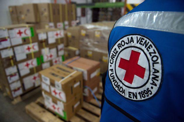 Cajas con ayuda humanitaria, el pasado abril, en la sede caraqueña de Cruz Roja, cuando se produjo...