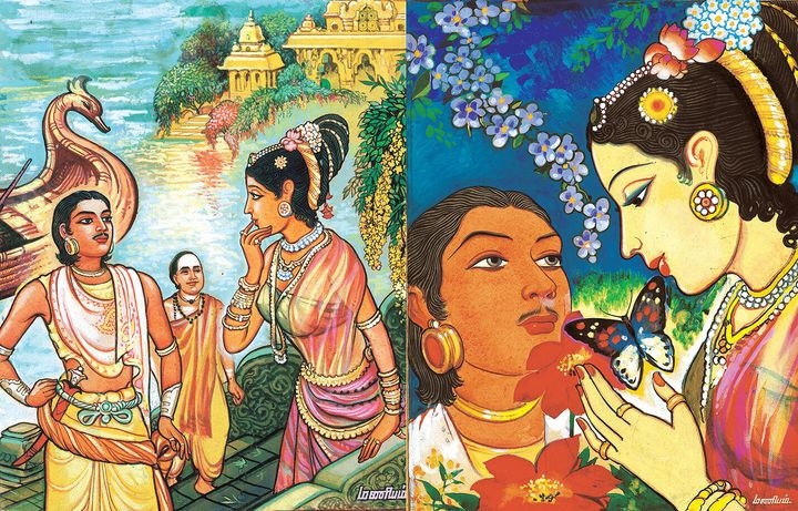 Original paintings by Maniam for&nbsp;Kalki Krishnamurthy's '<i>Ponniyin Selvan'</i>.