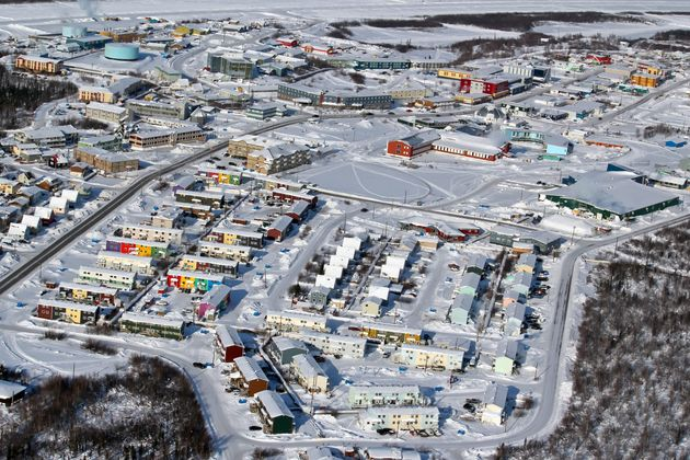 This aerial photo shows Inuvik, N.W.T., covered in snow on April 7,