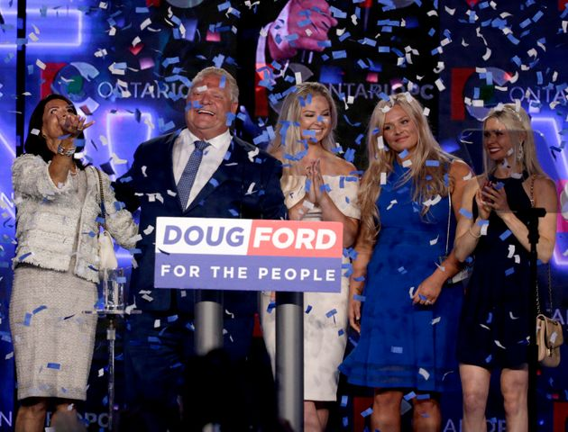 Ontario PC leader Doug Ford reacts after winning the Ontario provincial election June 7, 2018. From left:...