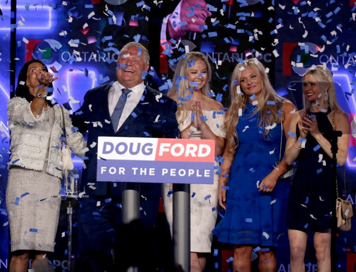 Ontario PC leader Doug Ford reacts after winning the Ontario provincial election June 7, 2018. From left: wife Karla, Doug, and daughters Kayla, Kara and Kyla.