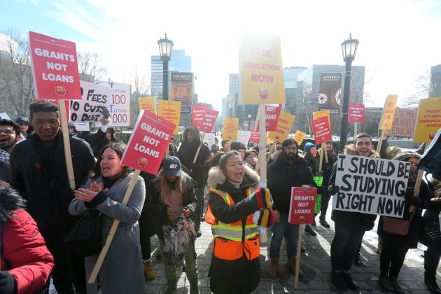 Post-secondary students protest changes to OSAP as the Queen's Park Legislative Assembly sits for...