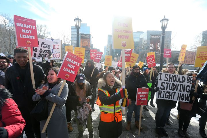 Post-secondary students protest changes to OSAP as the Queen's Park Legislative Assembly sits for the Winter Session at Queen's Park Feb. 19, 2019.
