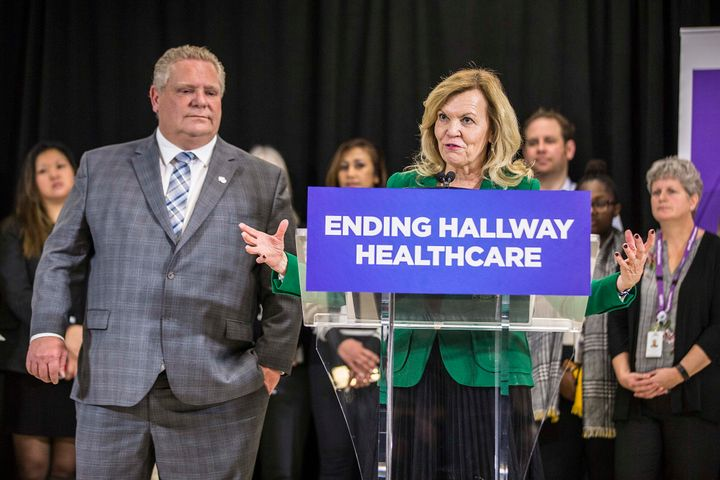 Premier Doug Ford and Minister of Health Christine Elliott at a media event to celebrate a milestone in the construction of new facilities at the Centre for Addiction and Mental Health Jan. 30, 2019.