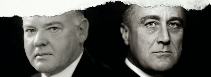 President Herbert Hoover clashed with successor Franklin Roosevelt over the latter's New Deal agenda.