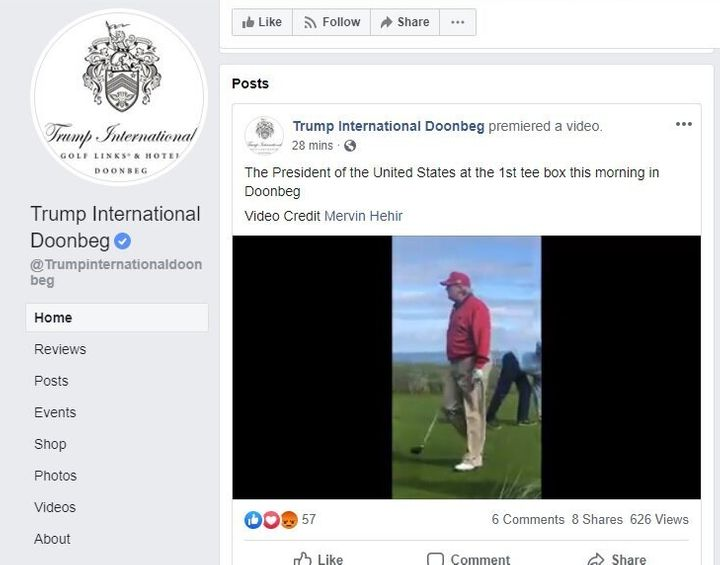 President Donald Trump's golf resort in Ireland began posting videos on social media of Trump playing golf and arriving there